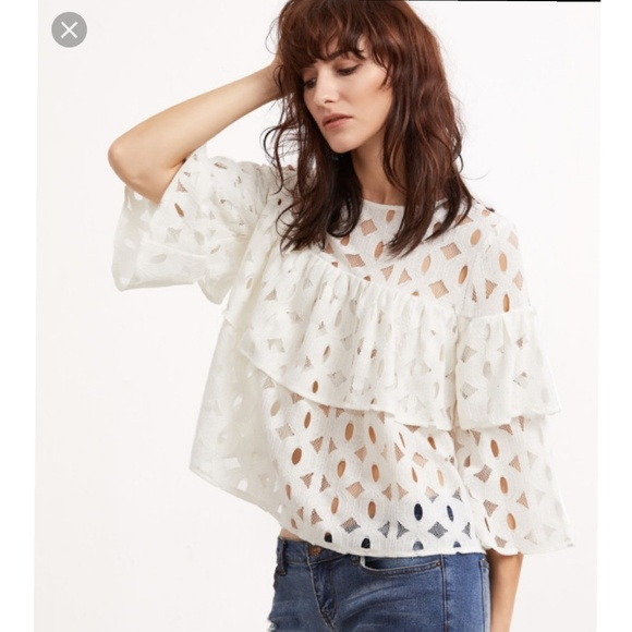 4e6c33d06c SHEIN Tops | Ruffle Layered Lace Top | Poshmark